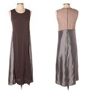 Rozae Nichols long brown and gray rayon dress sz P